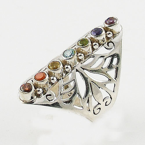Chakra Multi-Stone Cut Out Sterling Silver Ring - Keja Designs Jewelry