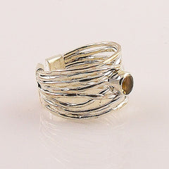 Citrine Sterling Silver Adjustable Ribbons Ring - Keja Designs Jewelry