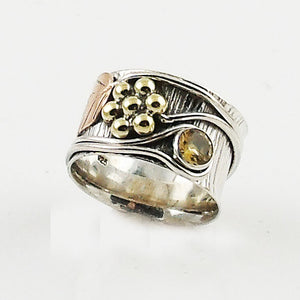 "Citrine ""Garden"" Two Tone Sterling Silver Band Ring - Keja Designs Jewelry"