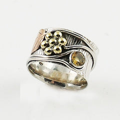 "Citrine ""Garden"" Two Tone Sterling Silver Band Ring"