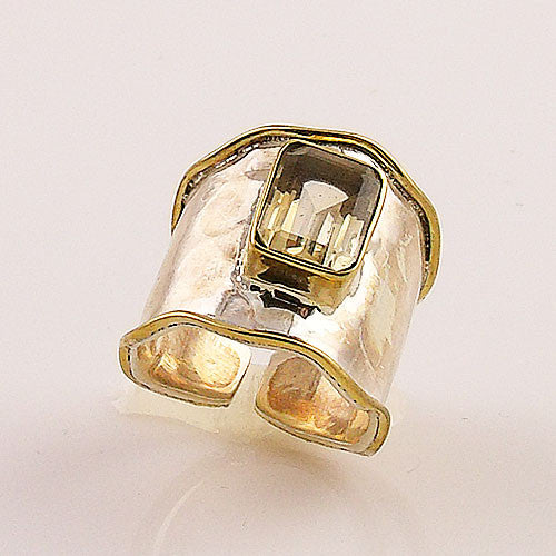 Citrine Sterling Silver Two Tone Adjustable Ring - Keja Designs Jewelry