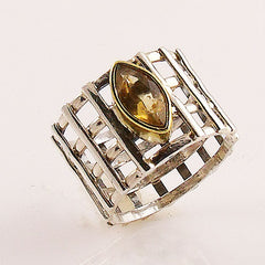 Citrine Sterling Silver Two Tone Lattice Work Ring - Keja Designs Jewelry