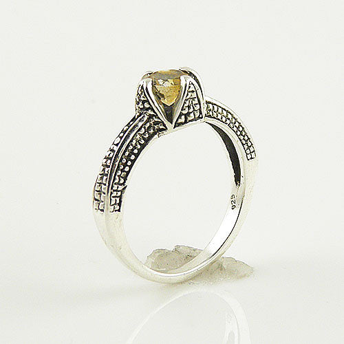 Citrine Solitaire Sterling SIlver Ring - Keja Designs Jewelry