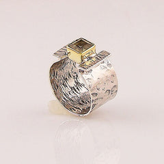 Citrine Sterling Silver Two Tone Ring - Keja Designs Jewelry