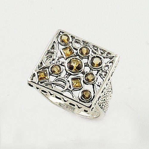 Citrine Sterling Silver Square Confetti Ring - Keja Designs Jewelry
