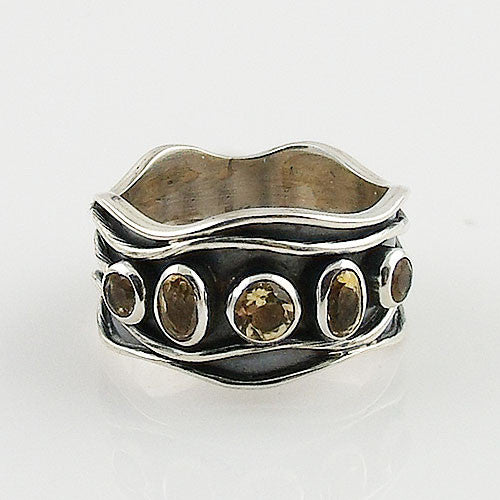Citrine Sterling Silver Waves Band Ring - Keja Designs Jewelry