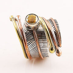 Citrine Three Tone Sterling Silver Adjustable Wrap Ring - Keja Designs Jewelry