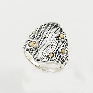 Citrine Sterling Silver Animal Stripes Ring - Keja Designs Jewelry