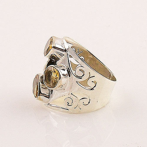 Citrine Sterling Silver Fall Leaves Ring - Keja Designs Jewelry