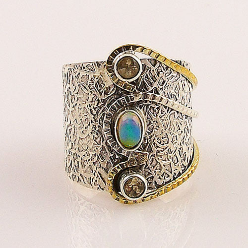 Citrine & Ethiopian Opal Two Tone Sterling Silver Ring - Keja Designs Jewelry