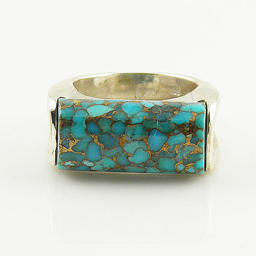 Blue Copper Turquoise - Fancy Cut - Sterling Silver Ring - keja jewelry - Keja Designs Jewelry