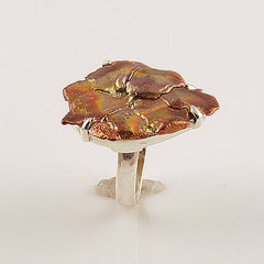 Copper Splash Floret Sterling Silver Artisan Ring - Keja Designs Jewelry