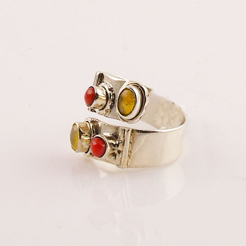 Ethiopian Opal & Coral Adjustable Sterling Silver Ring - Keja Designs Jewelry