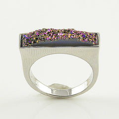 Titanium Drusy - Sterling Silver Oblong Ring - keja jewelry - Keja Designs Jewelry
