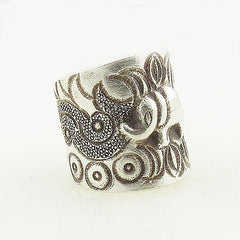 Elephant Sterling Silver Jungle Patterns Animal Wrap Ring - Keja Designs Jewelry