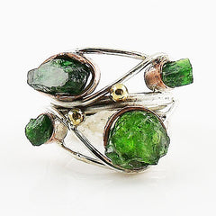 Emerald Rough Sterling Silver Three Tone Collage Ring - Keja Designs Jewelry
