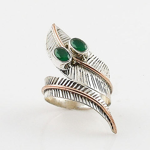 Emerlad Two Tone Sterling Silver Adjustable Wrap Ring - Keja Designs Jewelry