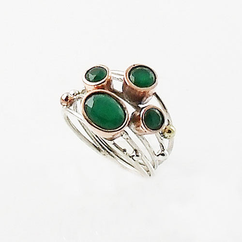 Emerald Sterling Silver Two Tone Collage Ring - Keja Designs Jewelry