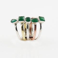 Emerald Sterling Silver Two Tone Stack Ring - Keja Designs Jewelry