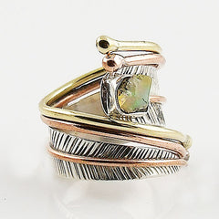 Ethiopian Opal Rough Three Tone Sterling Silver Adjustable Wrap Ring - Keja Designs Jewelry