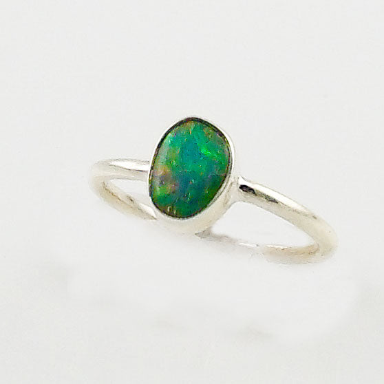 Ethiopian Opal Solitaire Sterling Silver Ring - Keja Designs Jewelry