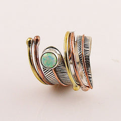 Fire Opal Three Tone Sterling Silver Adjustable Wrap Ring - Keja Designs Jewelry
