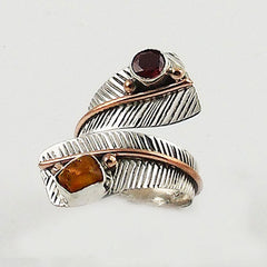 Ethiopian Opal Rough and Garnet Three Tone Adjustable Wrap Ring - Keja Designs Jewelry