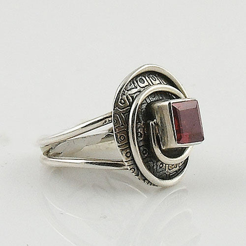 Garnet Sterling Silver Swirl Ring - Keja Designs Jewelry