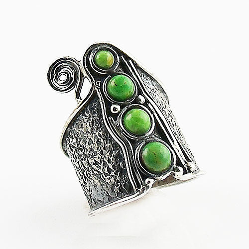 Gaspeite Whimsical Sterling Band Ring - Keja Designs Jewelry