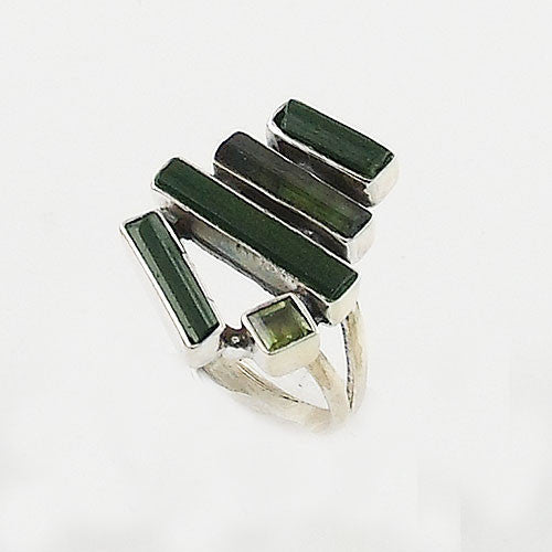 Green Tourmaline & Peridot Sterling Silver Ring - Keja Designs Jewelry