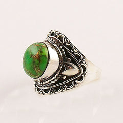 Green Copper Turquoise Sterling Silver Artisan Ring - keja jewelry - Keja Designs Jewelry