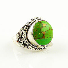 Green Copper Turquoise Sterling Silver Artisan Ring - Keja Designs Jewelry
