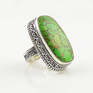 Green Copper Turquoise Sterling Silver Oblong Artisan Ring - keja jewelry - Keja Designs Jewelry
