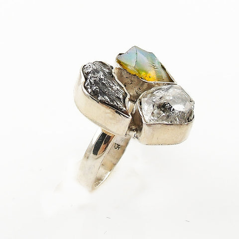 Herkimer Diamond, Campo de Cielo Meteorite & Ethiopian Opal Rough Sterling Silver Ring