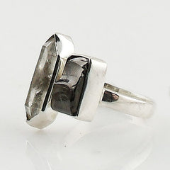 Shungite & Herkimer Diamond Sterling Silver Ring - Keja Designs Jewelry