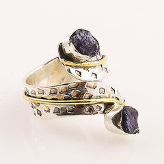 Iolite Rough Sterling Silver Two Tone Adjustable Ring - Keja Designs Jewelry