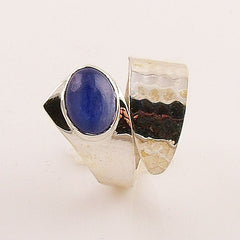 Blue Kyanite Adjustable Textured Sterling Silver Ring - Keja Designs Jewelry