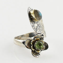 Labradorite & Peridot Adjustable Two Tone Sterling Silver Leaf Wrap Ring - Keja Designs Jewelry