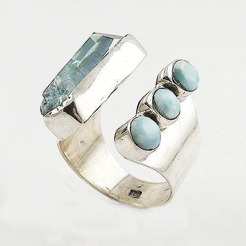 Larimar & Aura Crystal Adjustable Sterling Silver Ring - Keja Designs Jewelry