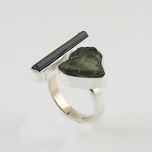 Green Tourmaline & Moldavite Meteorite Sterling Silver Adjustable Ring - Keja Designs Jewelry