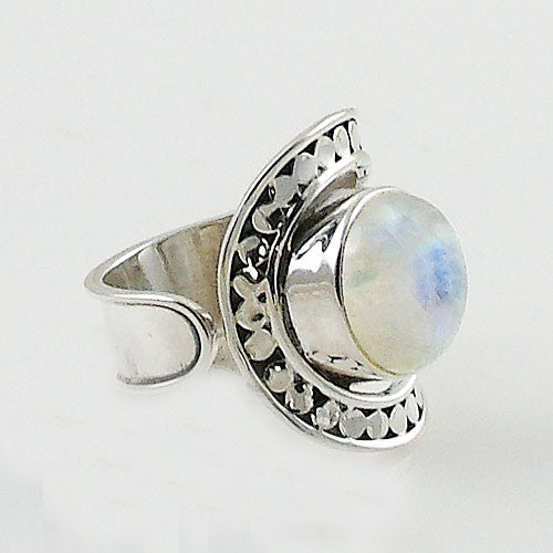 Moonstone Adjustable Sterling Silver Horse Shoe Ring - Keja Designs Jewelry
