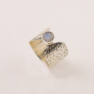 Moonstone Sterling Silver Band Ring - Keja Designs Jewelry