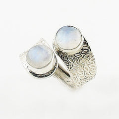 Moonstone Sterling Silver Leaf Pattern Adjustable Ring - Keja Designs Jewelry
