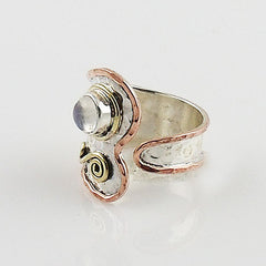 Moonstone Three Tone Adjustable Ring - Keja Designs Jewelry