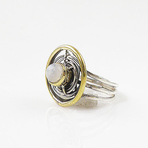 Moonstone Two Tone Sterling Silver Ring