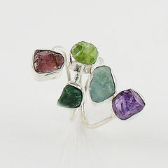 Amethyst, Aquamarine, Chrome Diopside, Peridot & Garnet Rough Sterling Silver Ring - Keja Designs Jewelry