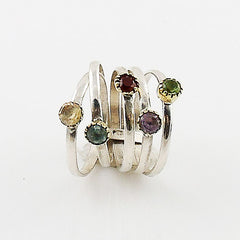 Mutli-Gemstone Sterling Silver Two Tone Stack Ring - Keja Designs Jewelry