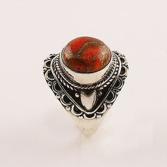 Orange Copper Turquoise Sterling Silver Artisan Ring - Keja Designs Jewelry