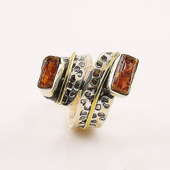 Orange Kyanite Two Tone Sterling Silver Ring - Keja Designs Jewelry