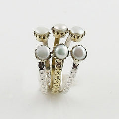 Pearl Two Tone Adjustable Ring - Keja Designs Jewelry